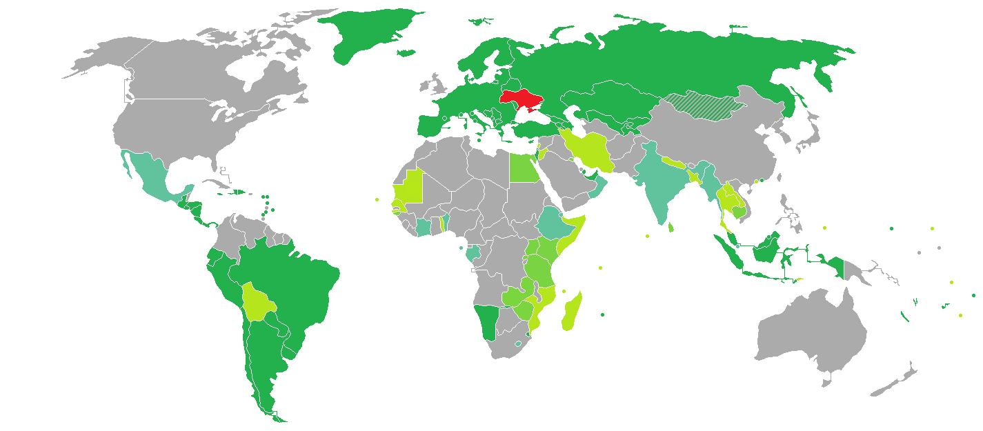 الدول التي بدخلها الاوكران بدون فيزا