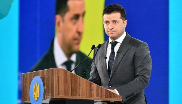 الرئيس الاوكراني اثناء افتتاح مؤتمر