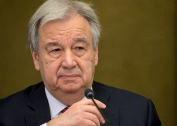 """(FILES) In this file photo taken on April 29, 2021 UN Secretary General Antonio Guterres attends a press conference at the end of a 5+1 Meeting on Cyprus. - UN Secretary-General Antonio Guterres was """"dismayed"""" by civilian casualties in Gaza and """"deeply disturbed"""" by Israel's strike on a building containing international media outlets, a spokesman said in a statement released Saturday. Guterres was """"deeply disturbed by the destruction by an Israeli airstrike today of a high-rise building in Gaza City that housed the offices of several international media organizations,"""" his spokesman, Stephane Dujarric, said in the statement. (Photo by Fabrice COFFRINI / AFP)"""