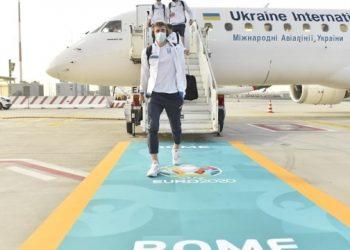 المنتخب الأوكراني يصل إلى روما للمشاركة في مباراة يورو 2020 أمام إنجلترا