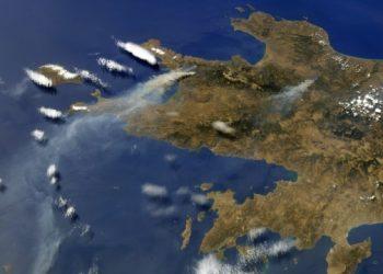تصوير حرائق اليونان من الفضاء.