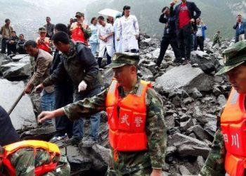 انهيار ارضى واسع النطاق فى الصين: قتيلان و 12 فى عداد المفقودين