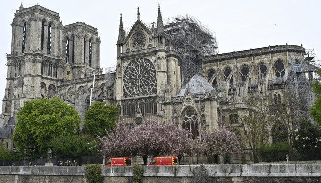 PARIS, FRANCE - APRIL 16: The Notre-Dame Cathedral is seen the day after the massive fire that ravaged its roof on April 16, 2019 in Paris, France. A fire broke out on Monday afternoon and quickly spread across the building, collapsing the spire. ( Mustafa Yalçın - Anadolu Agency )